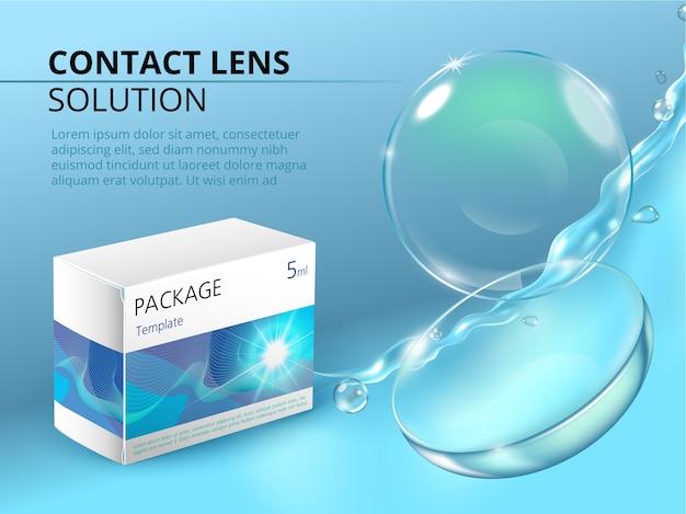 Plantilla de anuncios con lentes de contacto realistas, salpicaduras de agua y paquete de medicamentos.