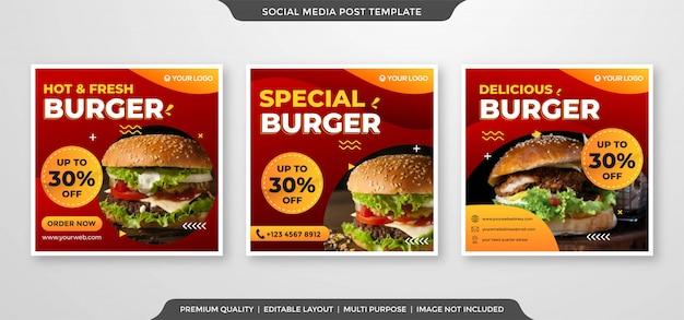 Plantilla de anuncios de redes sociales de hamburguesas
