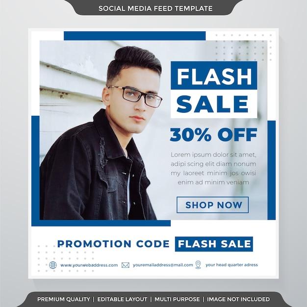 Plantilla de anuncios de redes sociales de venta flash estilo clea