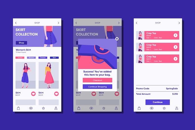 Plantilla de aplicación de compras de moda
