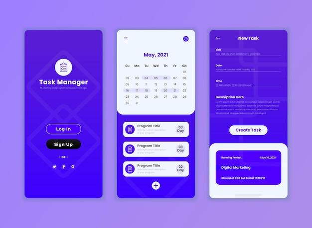 Plantilla de aplicación de interfaz de usuario de gestión de tareas