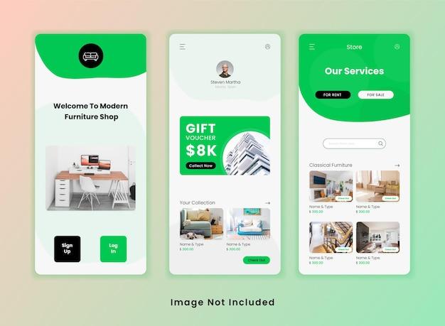 Plantilla de aplicación de interfaz de usuario de tienda de muebles