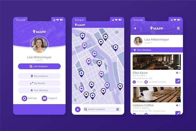 Plantilla de aplicación móvil de ubicación