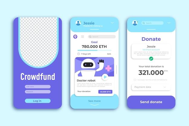 Plantilla de aplicación de teléfono inteligente crowdfunding