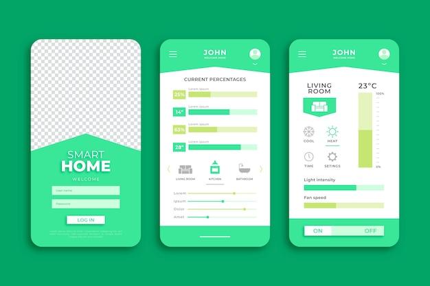 Plantilla de aplicación de teléfono inteligente para el hogar inteligente verde