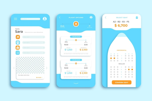 Plantilla de aplicación de teléfono inteligente de viaje de calendario