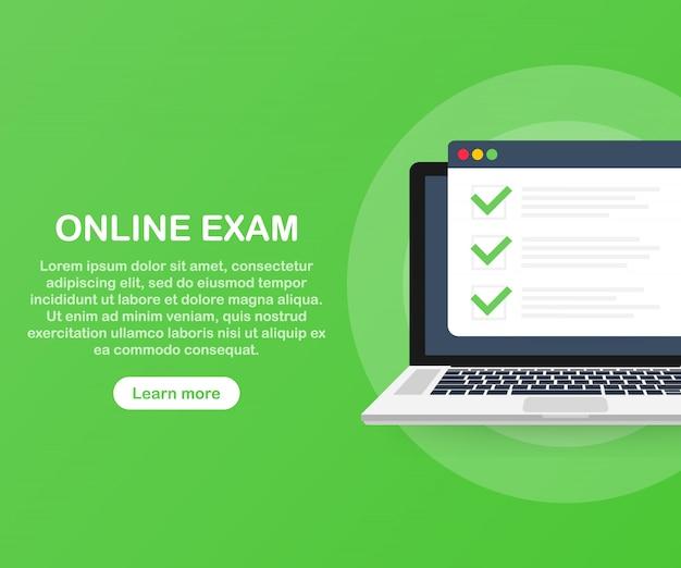 Plantilla de aplicación web de computadora de examen en línea