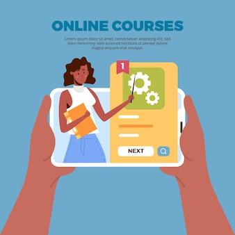 Plantilla de aprendizaje en línea con cursos