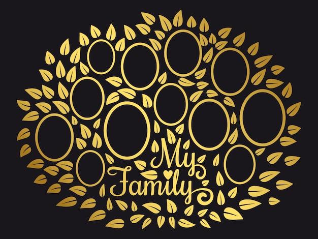 Plantilla de árbol de genealogía dorada