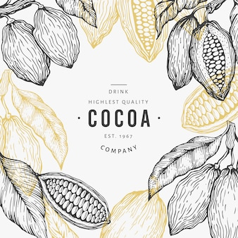 Plantilla de árbol de grano de cacao. fondo de granos de cacao chocolate. ilustración dibujada a mano. ilustración de estilo vintage