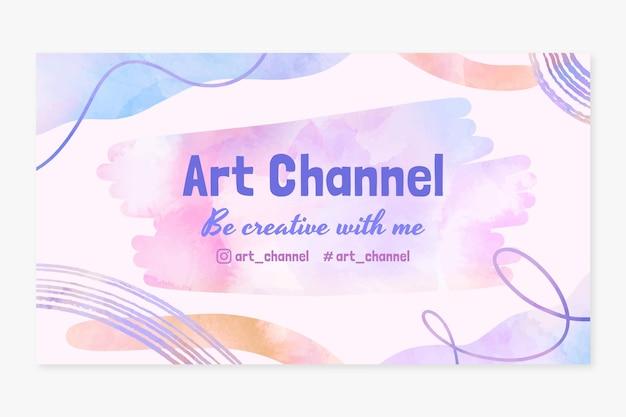 Plantilla de arte de canal de youtube dibujada a mano en acuarela