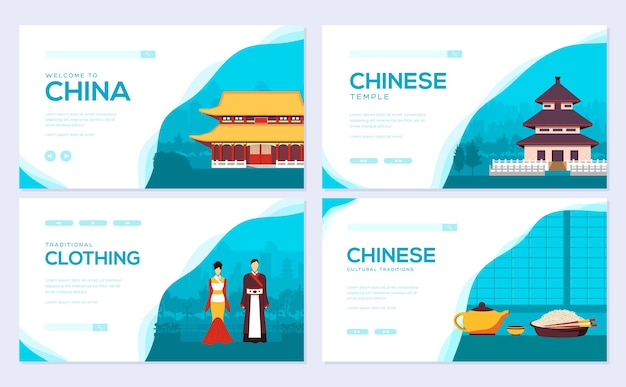 Plantilla asiática de plantilla de invitación de flyear, banner web, encabezado de interfaz de usuario, ingresar al sitio.