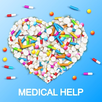 Plantilla de atención médica farmacéutica con cápsulas de colores píldoras vitaminas en forma de corazón en azul