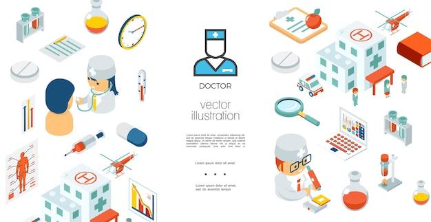 Plantilla de atención médica isométrica