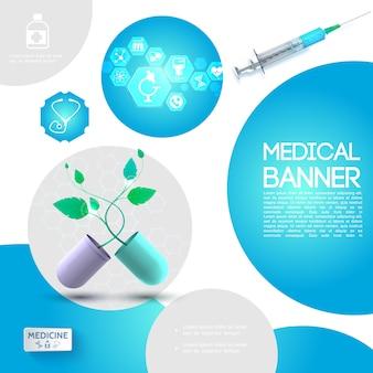 Plantilla de atención médica realista con jeringa cápsula rota con iconos de plantas y medicinas en hexágonos