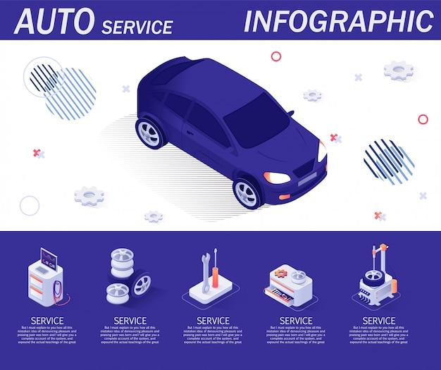 Plantilla auto servicio de infografía con elementos isométricos.