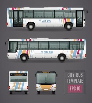 Plantilla de autobús de la ciudad en estilo realista