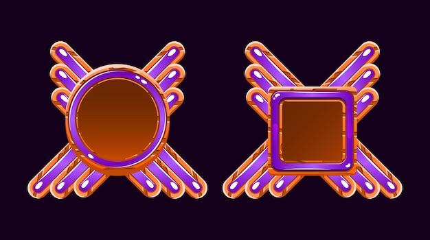 Plantilla de avatar de borde de marco de interfaz gráfica de usuario de madera y gelatina para elementos de activos de interfaz de usuario de juego