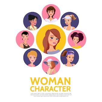 Plantilla de avatares de personajes de mujer