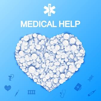 Plantilla de ayuda médica abstracta con forma de corazón de píldoras y medicamentos en la ilustración azul claro