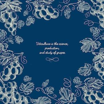 Plantilla azul abstracto floral dibujado a mano