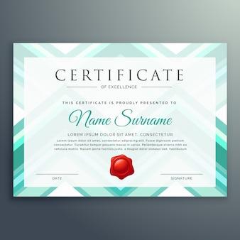 Plantilla azul moderna de diseño de certificado