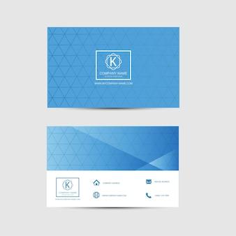 Plantilla azul y blanca de la tarjeta de visita. diseño plano