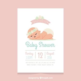 Plantilla de baby shower con bebé durmiendo