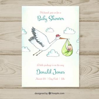 Plantilla de baby shower con cigüeña llevando bebé
