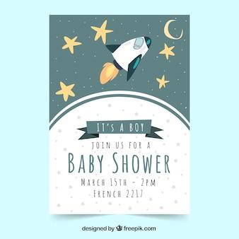 Plantilla de baby shower con cohete