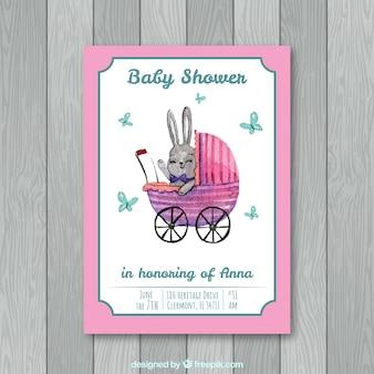 Plantilla de baby shower con conejo dibujado a mano