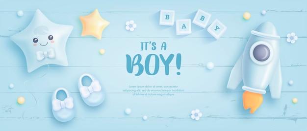 Plantilla de baby shower para niño
