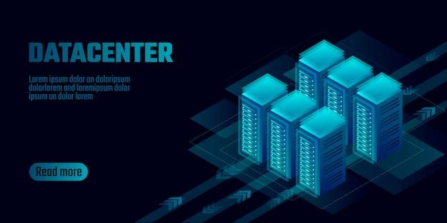 Plantilla de la bandera del concepto del almacenamiento de la computación en nube del centro de datos isométrico