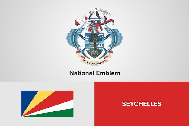 Plantilla de la bandera del emblema nacional de seychelles