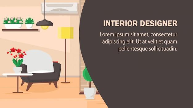Plantilla de la bandera del vector del sitio web del diseño interior.