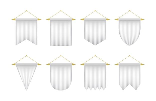 Plantilla de banderín realista blanco