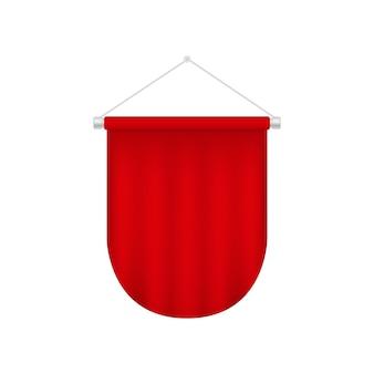 Plantilla de banderín realista. ilustración colgante en blanco rojo.