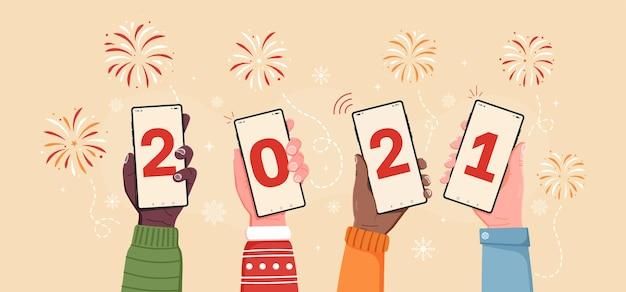 Plantilla de banner 2021 con teléfono en mano transición al nuevo año