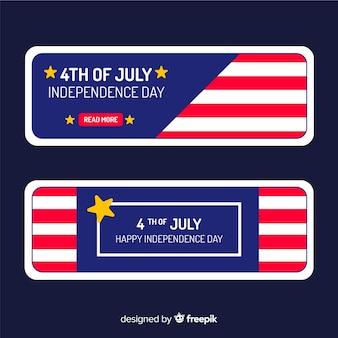 Plantilla de banner del 4 de julio en diseño plano