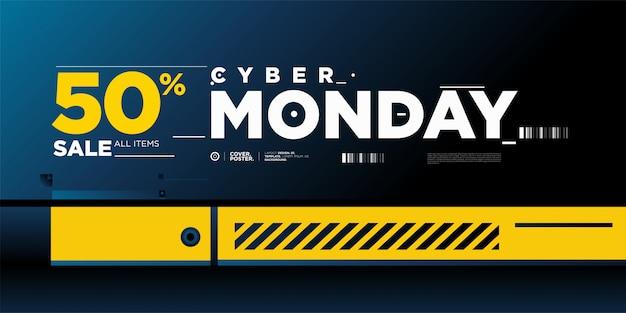 Plantilla de banner del 50% de cyber monday sale