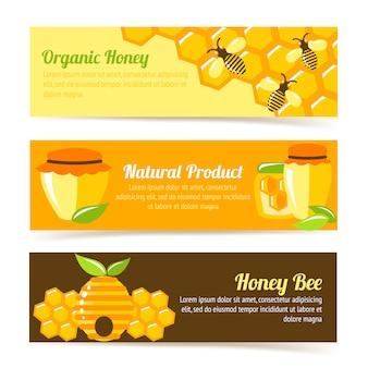 Plantilla de banner de abeja de miel