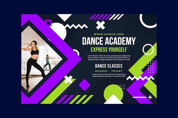 Plantilla de banner de academia de baile