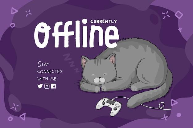 Plantilla de banner actualmente fuera de línea, fondo morado con gato durmiendo