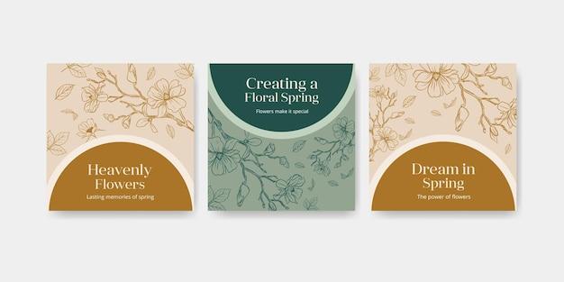 Plantilla con banner de acuarela de diseño de concepto de arte de línea de primavera