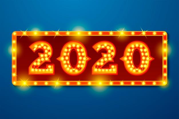 Plantilla de banner de año nuevo con números de bombilla brillante 2020 sobre fondo azul del letrero