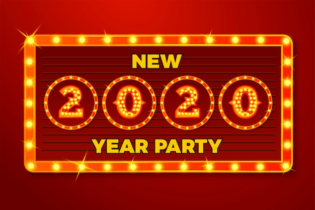Plantilla de banner de año nuevo con números de bombilla brillante 2020 sobre fondo rojo del letrero