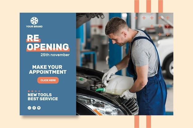 Plantilla de banner de anuncio mecánico