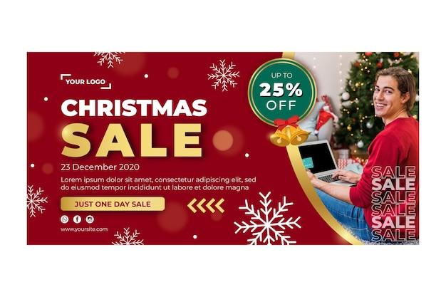 Plantilla de banner de anuncio de ventas navideñas