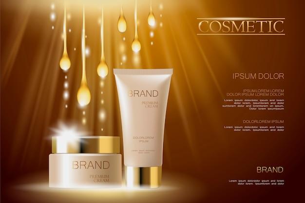Plantilla de banner de anuncios cosméticos delicados realistas 3d