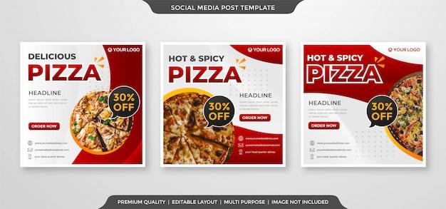 Plantilla de banner de anuncios de redes sociales de pizza